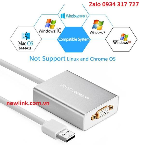 Cáp chuyển đổi USB to VGA chính hãng Ugreen