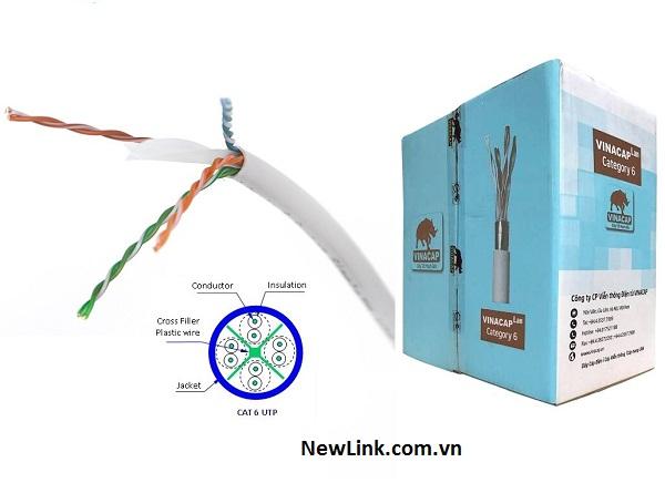 Dây cáp mạng vinacap cat6e UTP, cable mạng vinacap cat6 chính hãng