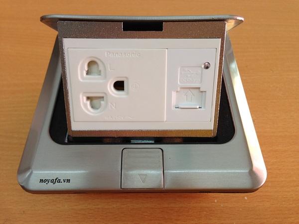 Ổ cắm âm sàn lắp ổ điện 3 chấu + ổ cắm sạc USB