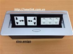 Bán ổ cắm điện âm bàn sino amigo( 2 điện 3 chấu, 3 điện 2 chấu )