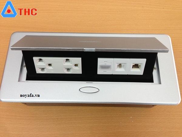 Bộ ổ cắm âm bàn sino amigo lắp nhân điện đôi 3 chấu, HDMI, mạng, thoại